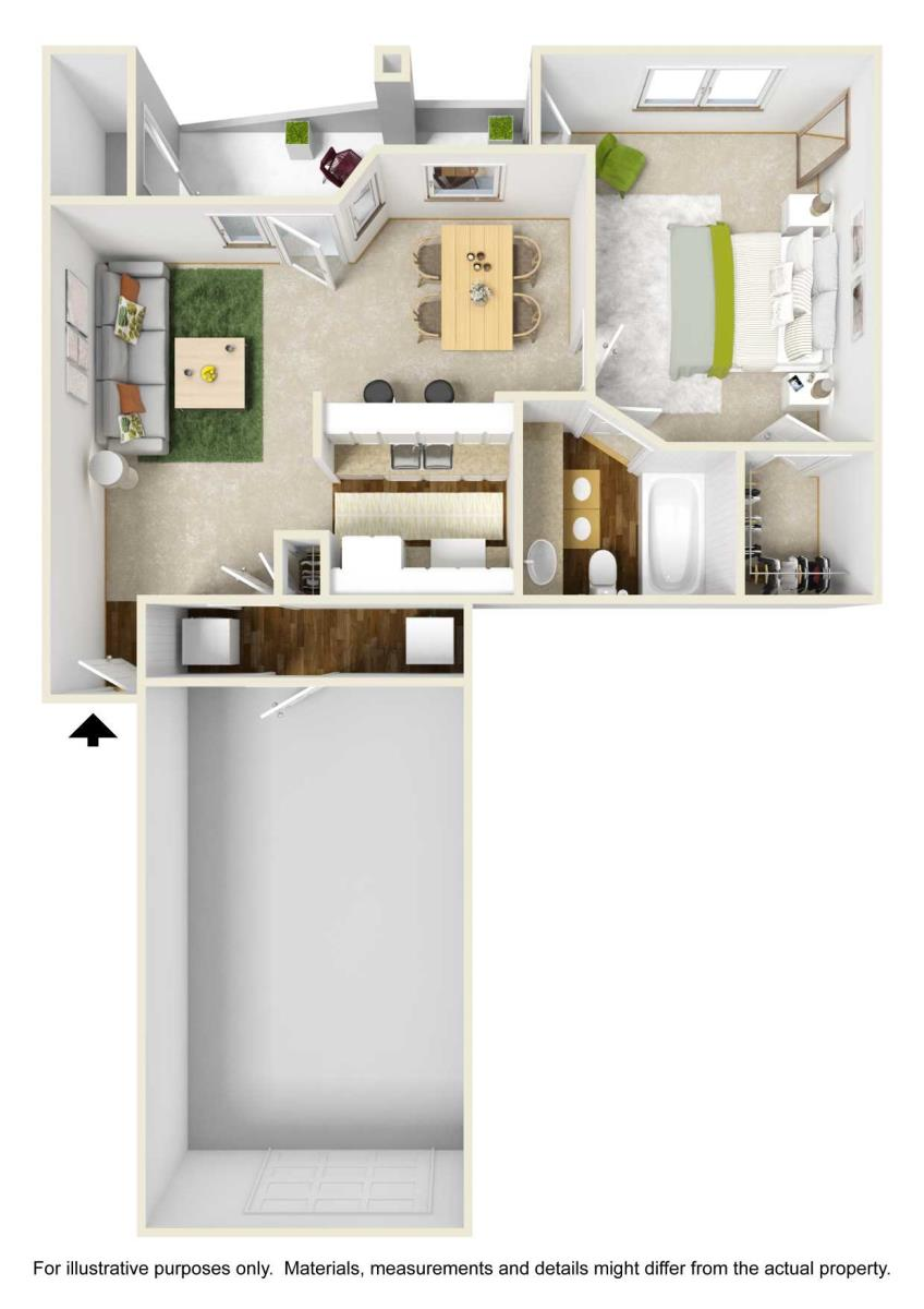 701 sq. ft. A3 floor plan