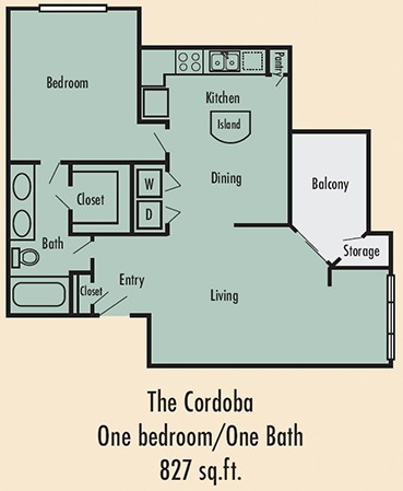 827 sq. ft. A4 floor plan