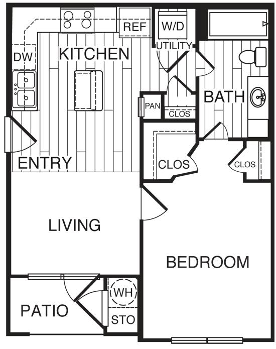 580 sq. ft. A1/Jade floor plan