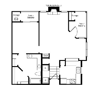 851 sq. ft. A2 floor plan