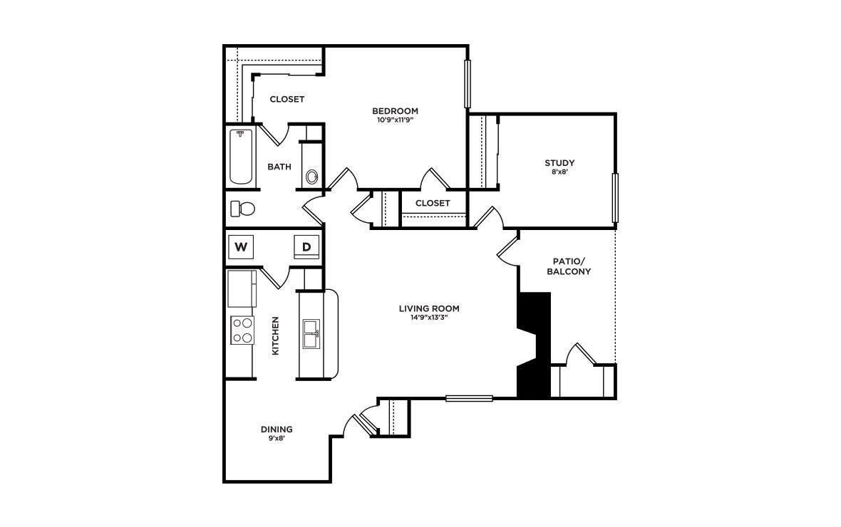 837 sq. ft. A4-Snowbird floor plan