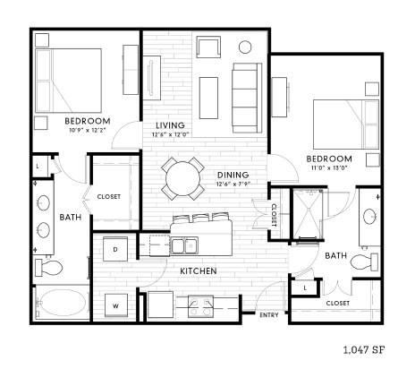 1,097 sq. ft. B1a floor plan