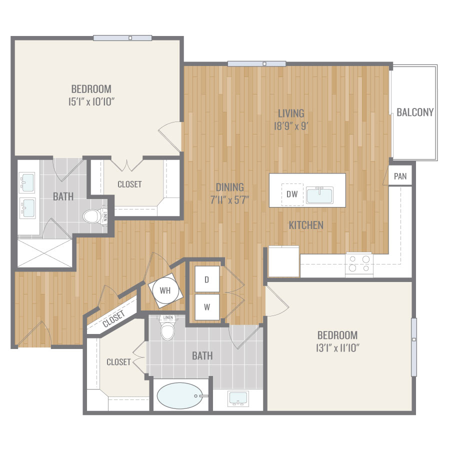 1,258 sq. ft. B4 floor plan