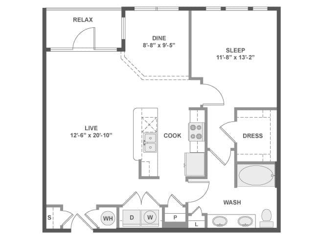 912 sq. ft. A5A floor plan