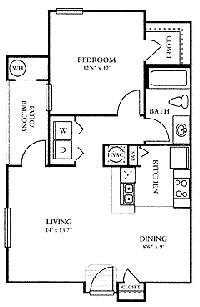 691 sq. ft. A1 floor plan