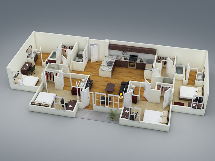 1,060 sq. ft. D2 floor plan