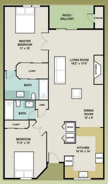 1,217 sq. ft. 2-2 floor plan