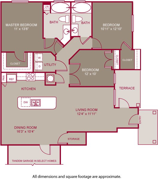 1,294 sq. ft. DEVONSHIRE I floor plan