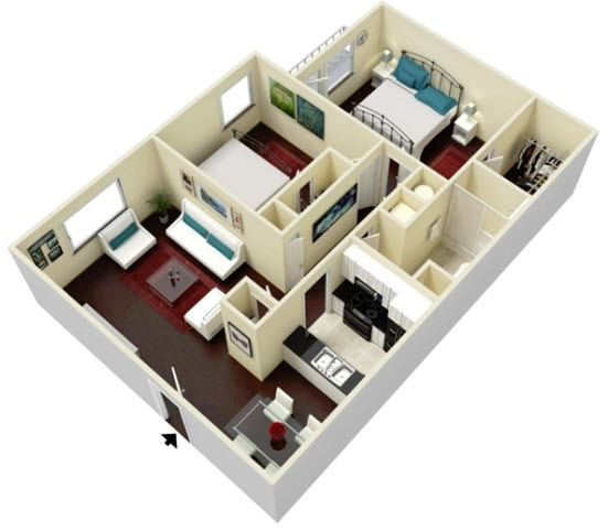 864 sq. ft. Rosewood floor plan