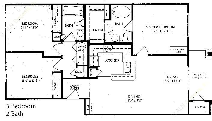 1,185 sq. ft. C-1 floor plan