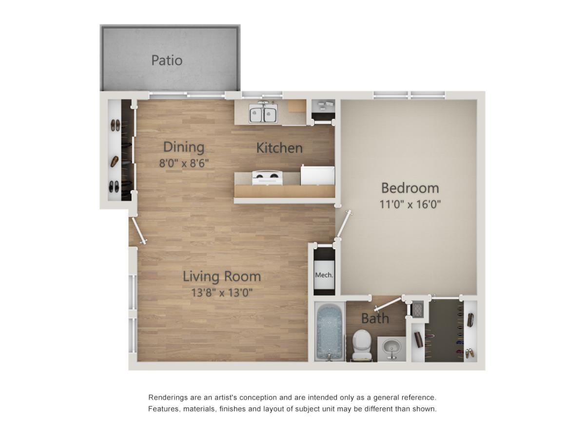 636 sq. ft. floor plan