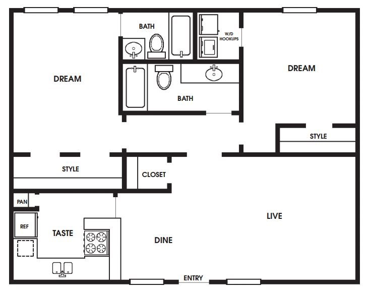 930 sq. ft. to 960 sq. ft. B3/B4/B5 floor plan
