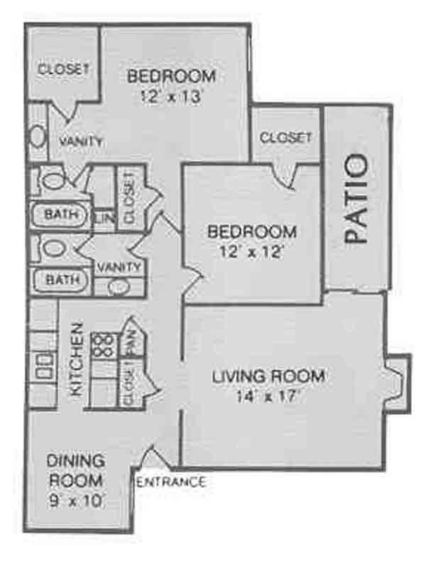 1,116 sq. ft. C floor plan