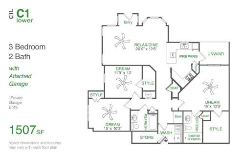 1,507 sq. ft. C1L floor plan