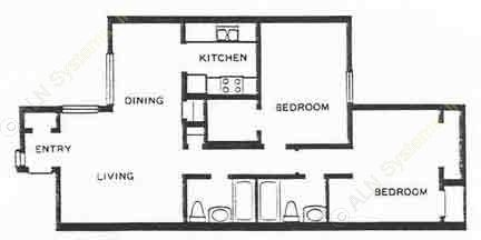 950 sq. ft. 2B floor plan