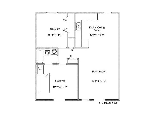 870 sq. ft. B1 floor plan