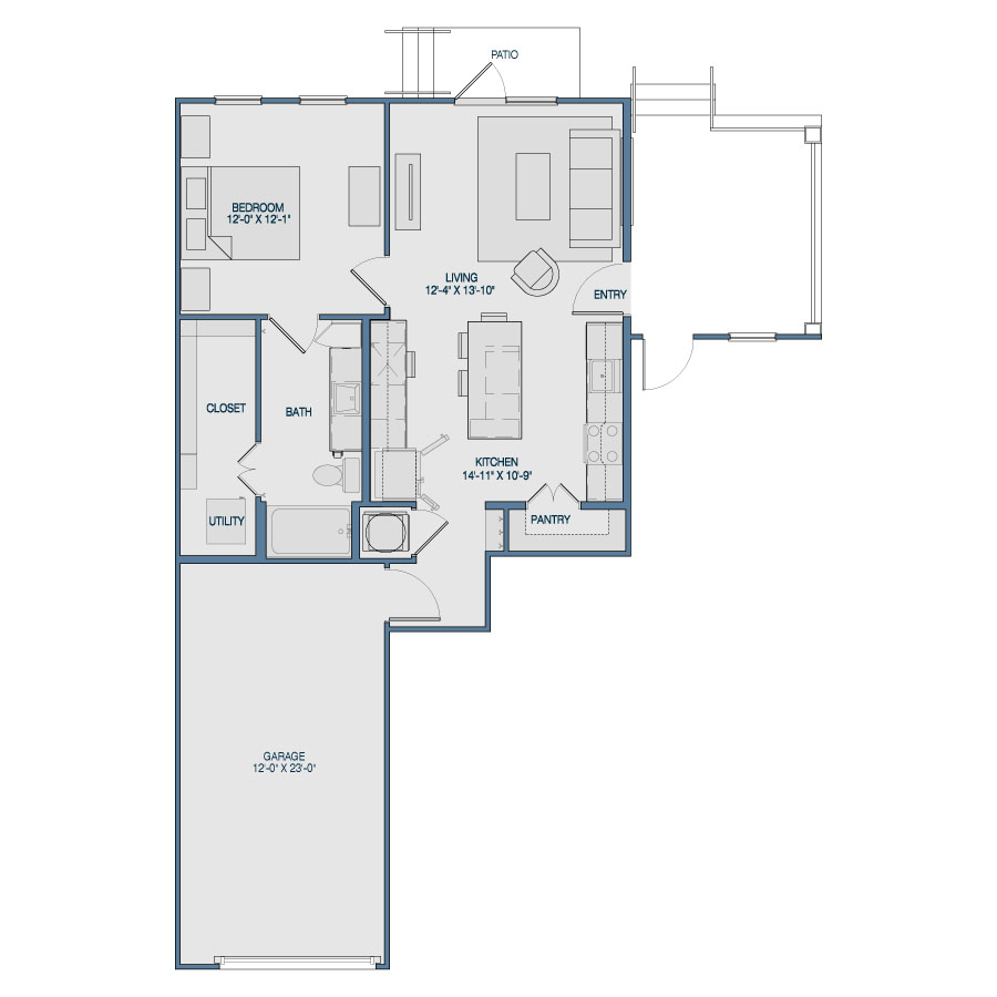 765 sq. ft. A9 floor plan