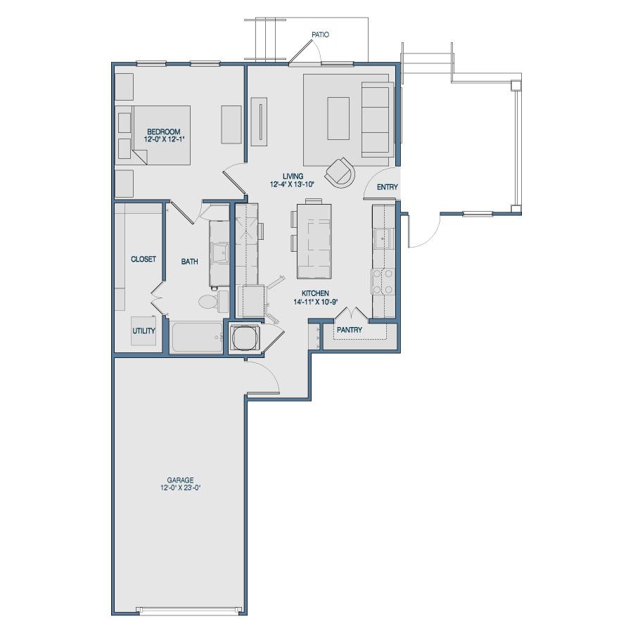 765 sq. ft. A9 floor plan