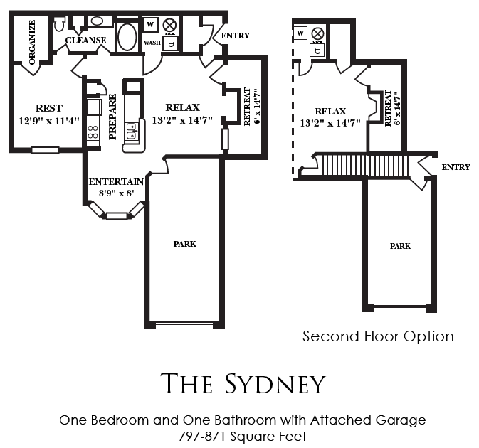 797 sq. ft. A2 floor plan