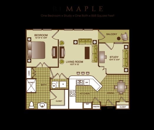 868 sq. ft. Maple floor plan