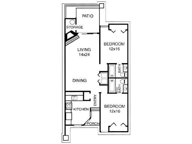 1,020 sq. ft. B floor plan