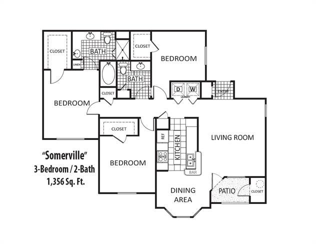 1,356 sq. ft. floor plan