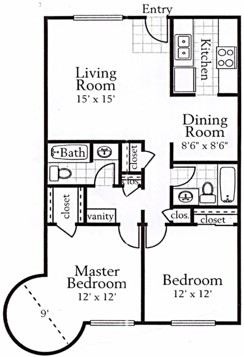 1,059 sq. ft. B3 floor plan