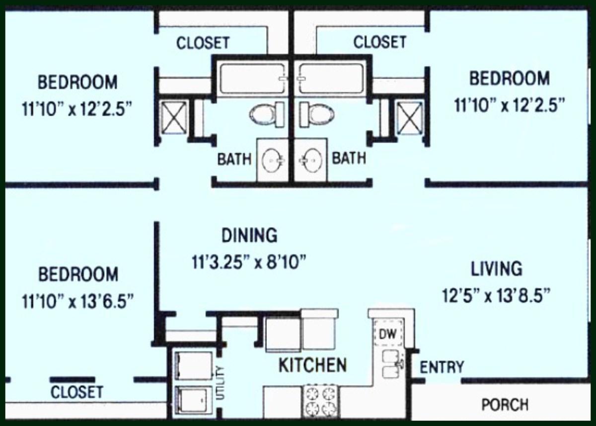 1,297 sq. ft. floor plan