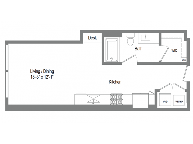 534 sq. ft. S2 floor plan