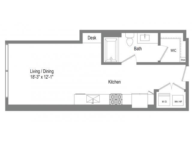 534 sq. ft. S2 floor plan