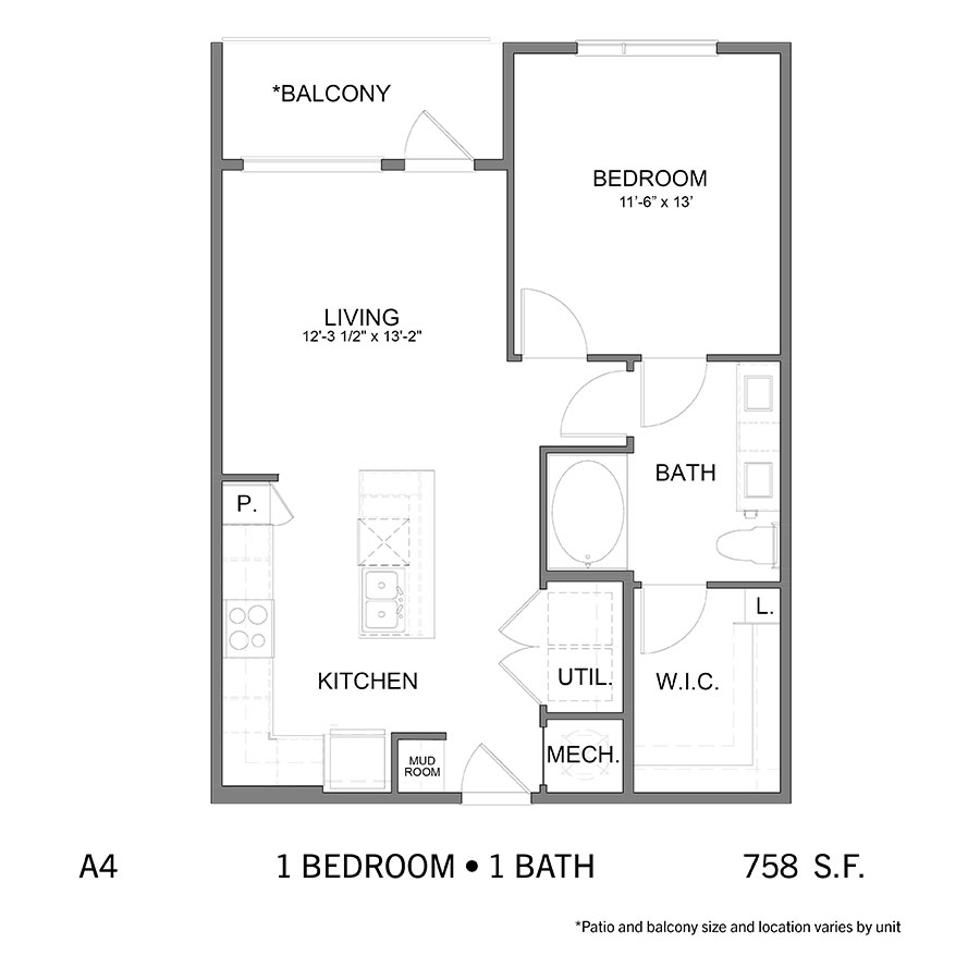755 sq. ft. to 758 sq. ft. A4 floor plan