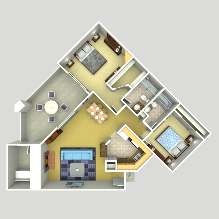 1,079 sq. ft. C-5 floor plan
