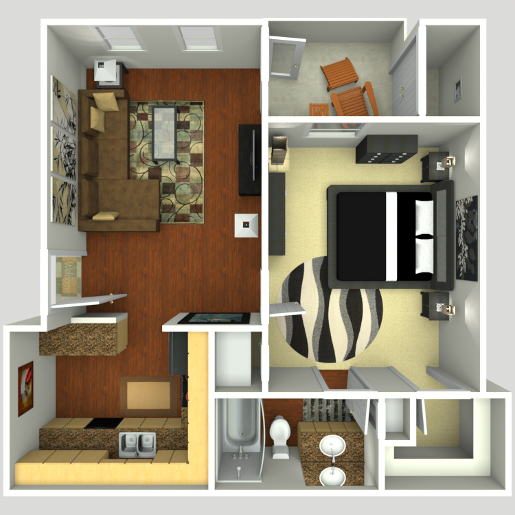 618 sq. ft. A1-E floor plan