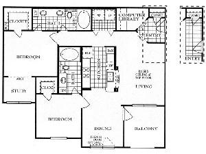 1,175 sq. ft. B2S floor plan