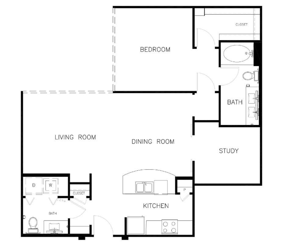 1,056 sq. ft. A3 floor plan