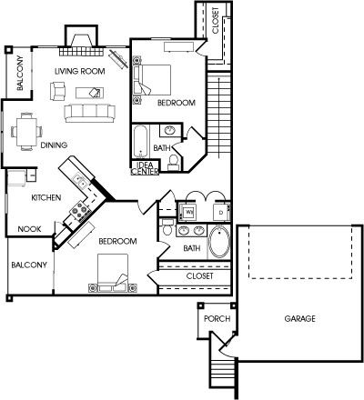 1,332 sq. ft. Sage floor plan