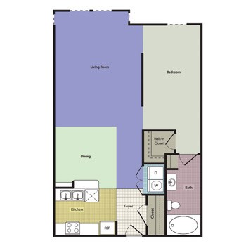 645 sq. ft. Kimball floor plan