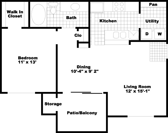 722 sq. ft. to 723 sq. ft. PH I/II floor plan
