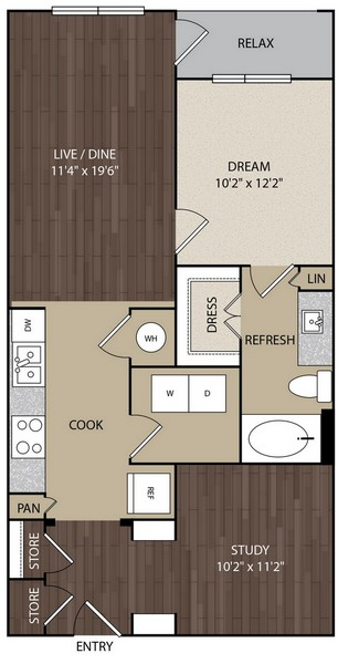 836 sq. ft. A6B floor plan
