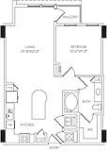 792 sq. ft. A2C floor plan