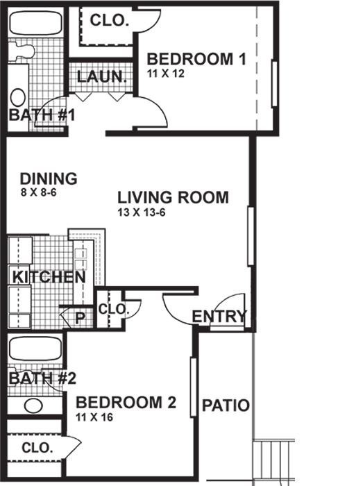882 sq. ft. B4W floor plan