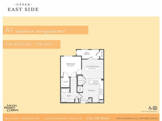 700 sq. ft. A1/Access floor plan