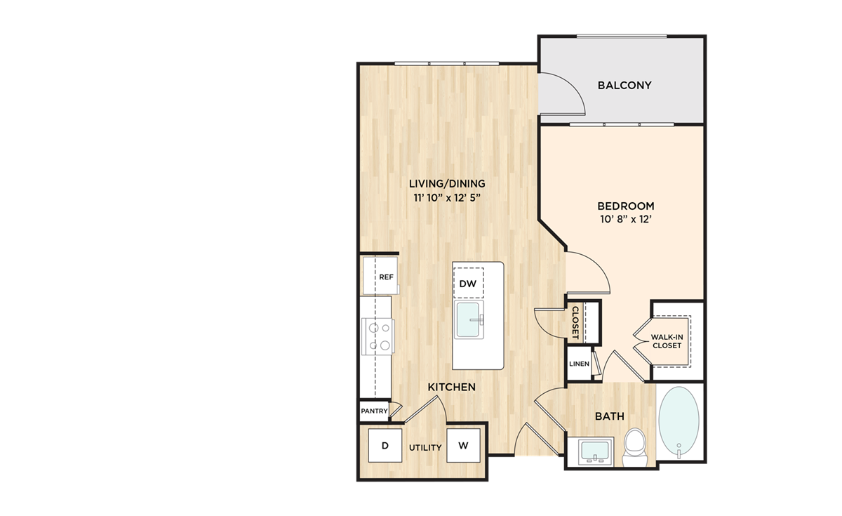 626 sq. ft. to 657 sq. ft. A1 floor plan