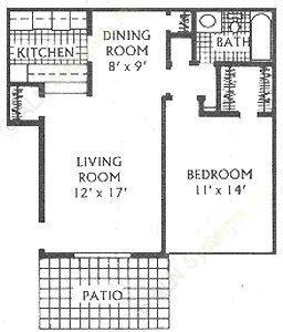 670 sq. ft. C floor plan