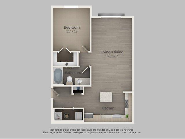 785 sq. ft. Aspen floor plan