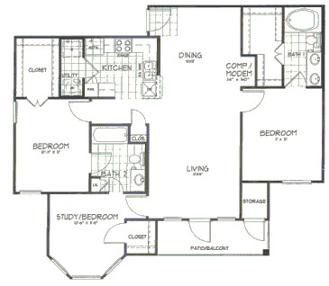 1,248 sq. ft. Willow floor plan