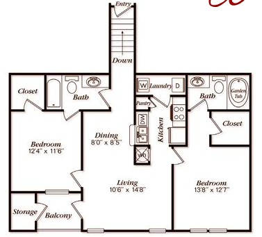 1,122 sq. ft. B42 floor plan