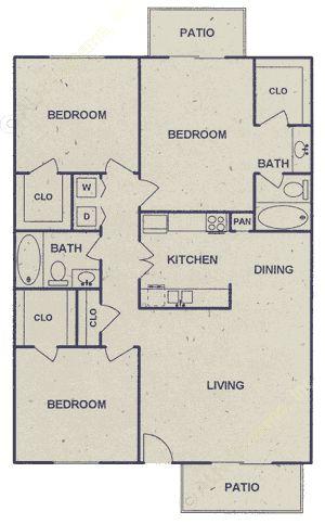 960 sq. ft. floor plan