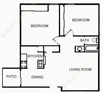 830 sq. ft. B2 floor plan