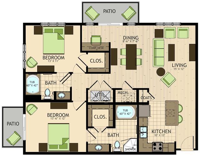 1,258 sq. ft. to 1,266 sq. ft. Renoir floor plan
